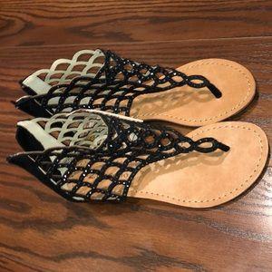 Black High Ankle Sandals